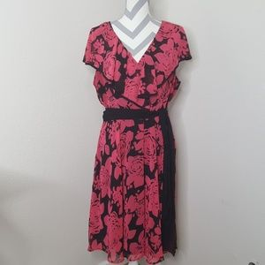 East 5th Pink and Black Floral Dress